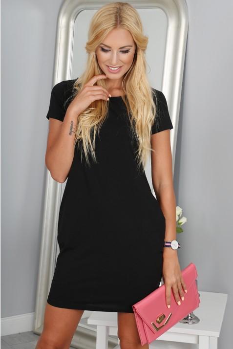 Črna obleka z kratkimi rokavi-0