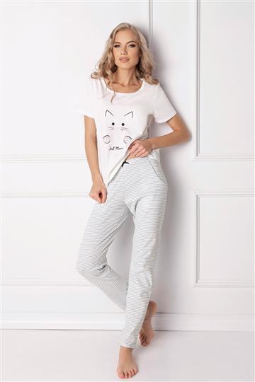 Pižama Catwoman dolga bela